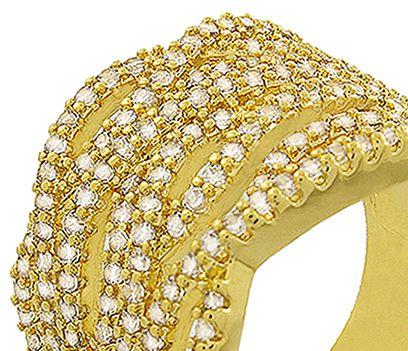Anel Multi Camadas Zircônia Dourado Duquesa Semi joias