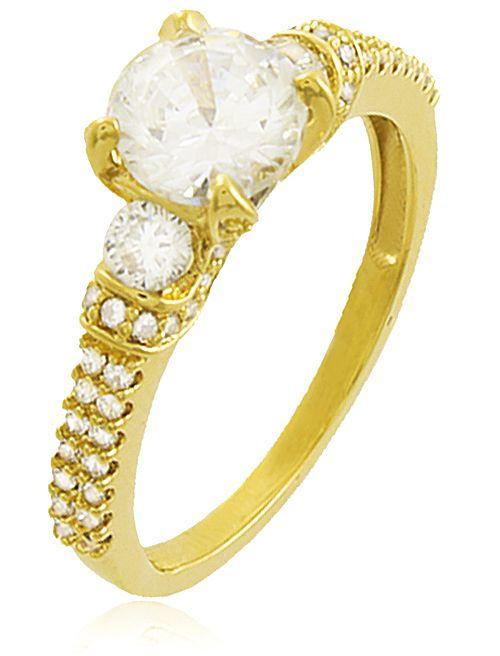 Anel Solitário Cravejado Zircônia Dourado Duquesa Semi joias