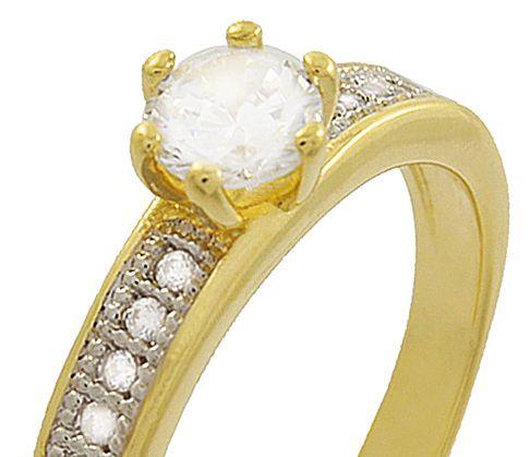 Anel Solitário Zircônia Dourado Prateado Duquesa Semi joias