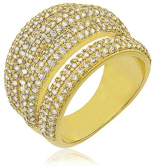 Anel Luxo Tiras Zircônia Cristal Dourado Duquesa Semi joias