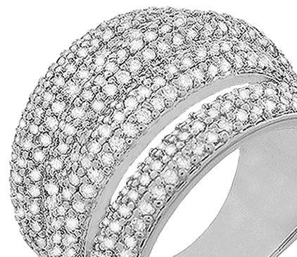 Anel Luxo Tiras Zircônia Cristal Prateado Duquesa Semi joias
