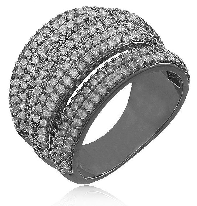 Anel Luxo Tiras Zircônia Cristal Negro Duquesa Semi joias
