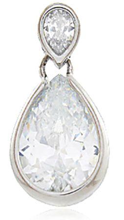 Brinco 2 Gotas Zircônia Cristal Prateado Duquesa Semi joias