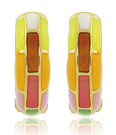 Brinco Argola Esmaltada Colorida Color Dourado Semi joias