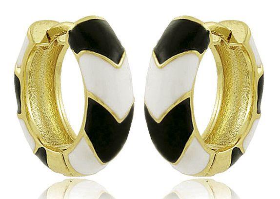 Brinco Argola Esmaltada Preto Branco Dourado Semi joias