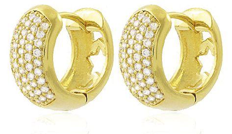 Brinco Mini Argola Cravejada Dourado Duquesa Semi joias