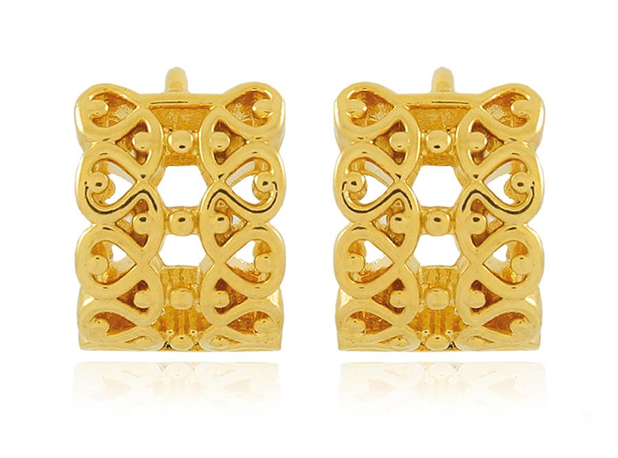 Brinco Argola P Detalhes s/ Pedra Dourado Duquesa Semi joias