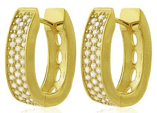 Brinco Argola Zircônia Cristal Dourado Duquesa Semi joias