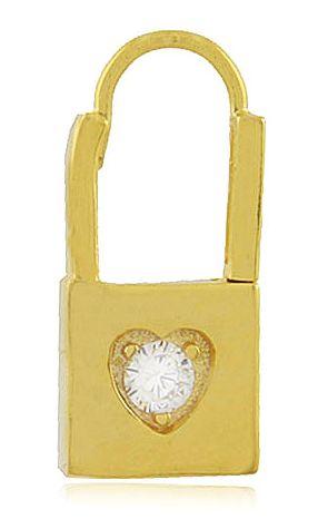 Brinco Cadeado Zircônia Cristal Dourado Duquesa Semi joias