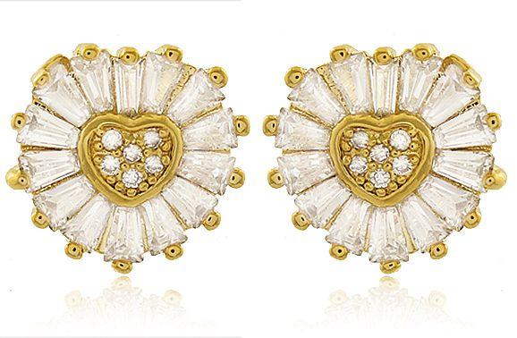 Brinco Coração em Zircônia Cristal Dourado Duquesa Semi joia
