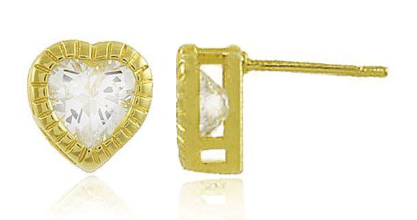 Brinco Coração Zircônia Cristal Dourado Duquesa Semi joia