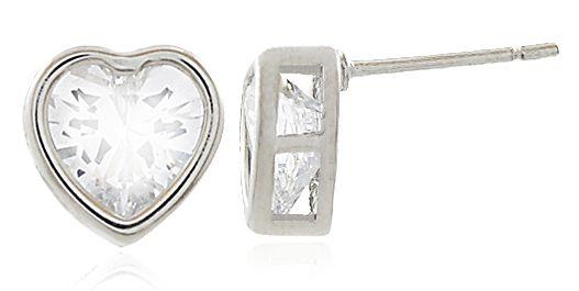 Brinco Coração Zircônia Cristal Prateado Duquesa Semi joias
