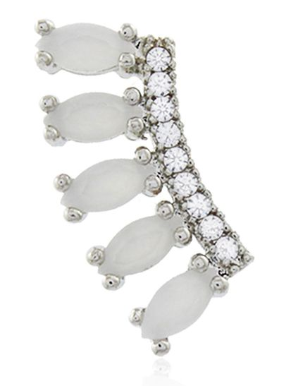 Brinco Ear Cuff Branco Cristal Prateado Duquesa Semi joias