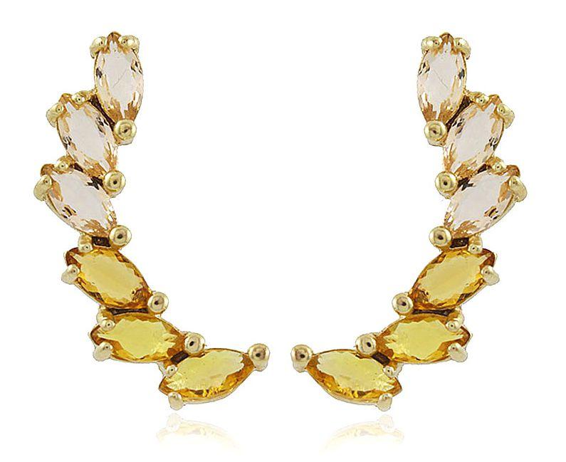 Brinco Ear Cuff Cristal Amarelo Dourado Duquesa Semi joias