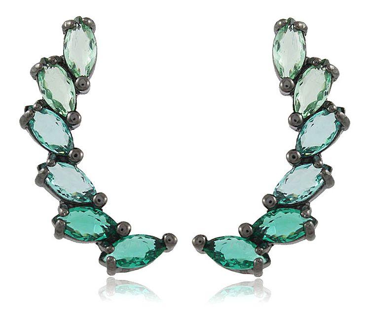 Brinco Ear Cuff Cristal Verde Negro Duquesa Semi joias