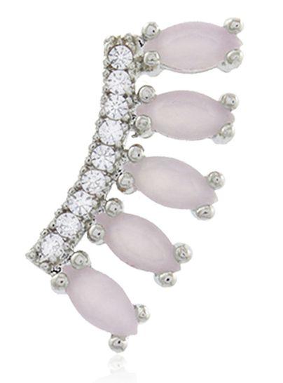 Brinco Ear Cuff Rosa Cristal Prateado Duquesa Semi joias