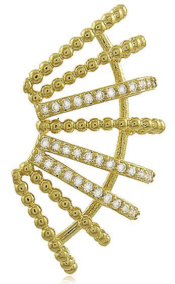 Brinco Earjacket Cravejado Dourado Duquesa Semi joias