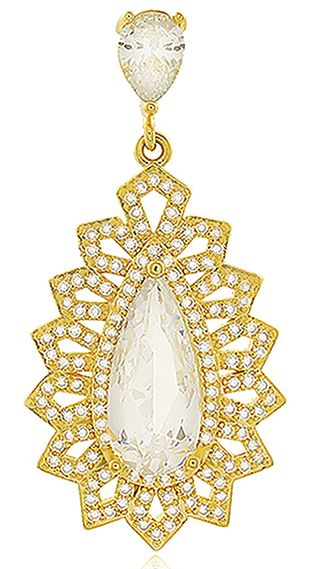 Brinco Festa Zircônia Cristal Dourado Duquesa Semi joias