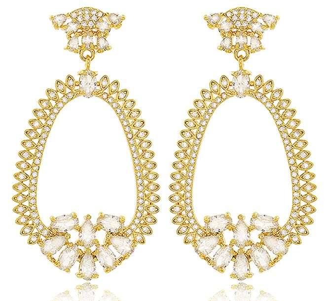 Brinco Festa Luxo Zircônia Dourado Duquesa Semi joias