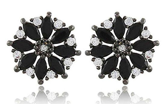 Brinco Flor Zircônia Negra e Cristal Negro Duquesa Semi joia