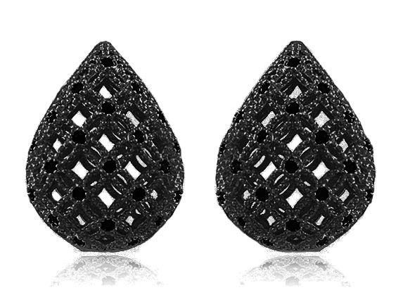 Brinco Gota com Micro Zircônia Negra Duquesa Semi joias