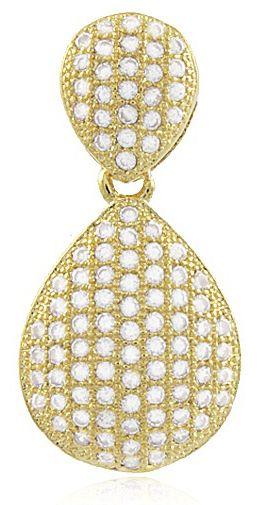 Brinco Gota Dupla Luxo Cravejada Dourado Duquesa Semi joias