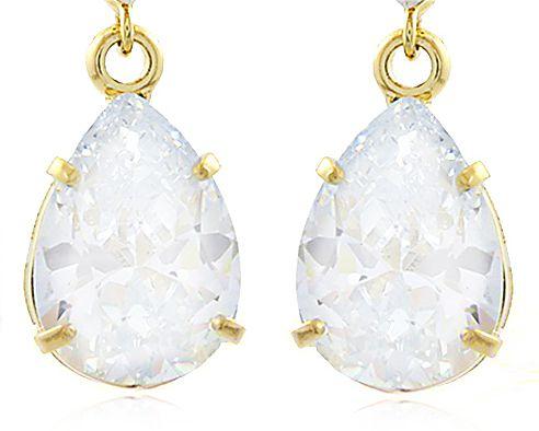 Brinco Gota Luxo Pedras Zircônia Dourado Duquesa Semi joias