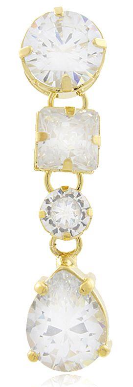 Brinco Luxo Gota Pedras Zircônia Dourado Duquesa Semi joias