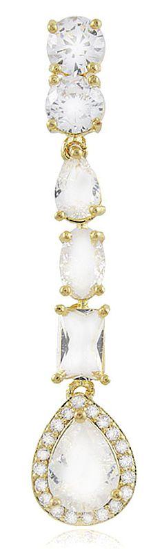Brinco Gota Luxo Fusion Zircônia Dourado Duquesa Semi joias