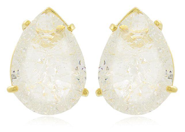 Brinco Gota P Pedra Fusion Cristal Dourado Duquesa Semi joia