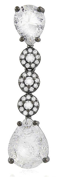 Brinco Gota Pedra Fusion Cristal Negro Duquesa Semi joias