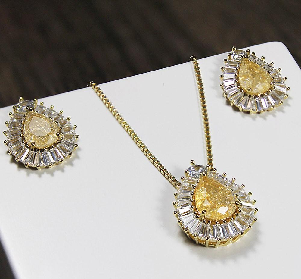 Brinco Gota Topázio e Zircônia Dourado Duquesa Semi joias