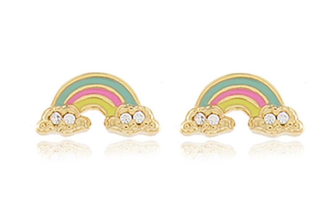 Brinco Infantil Arco-íris Colorido Dourado Duquesa Semi joias
