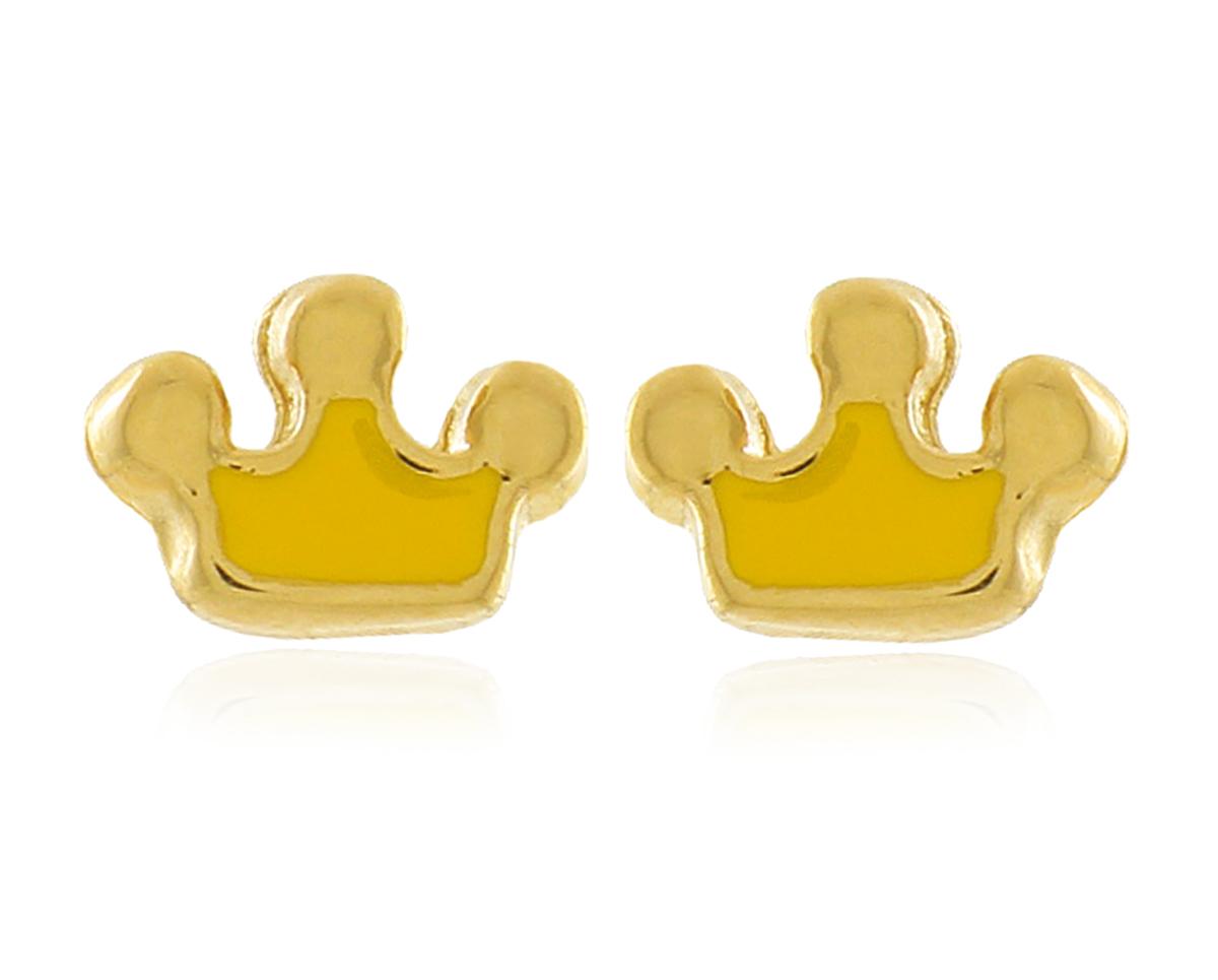 Brinco Infantil Coroa Princesa Dourado Duquesa Semi joia