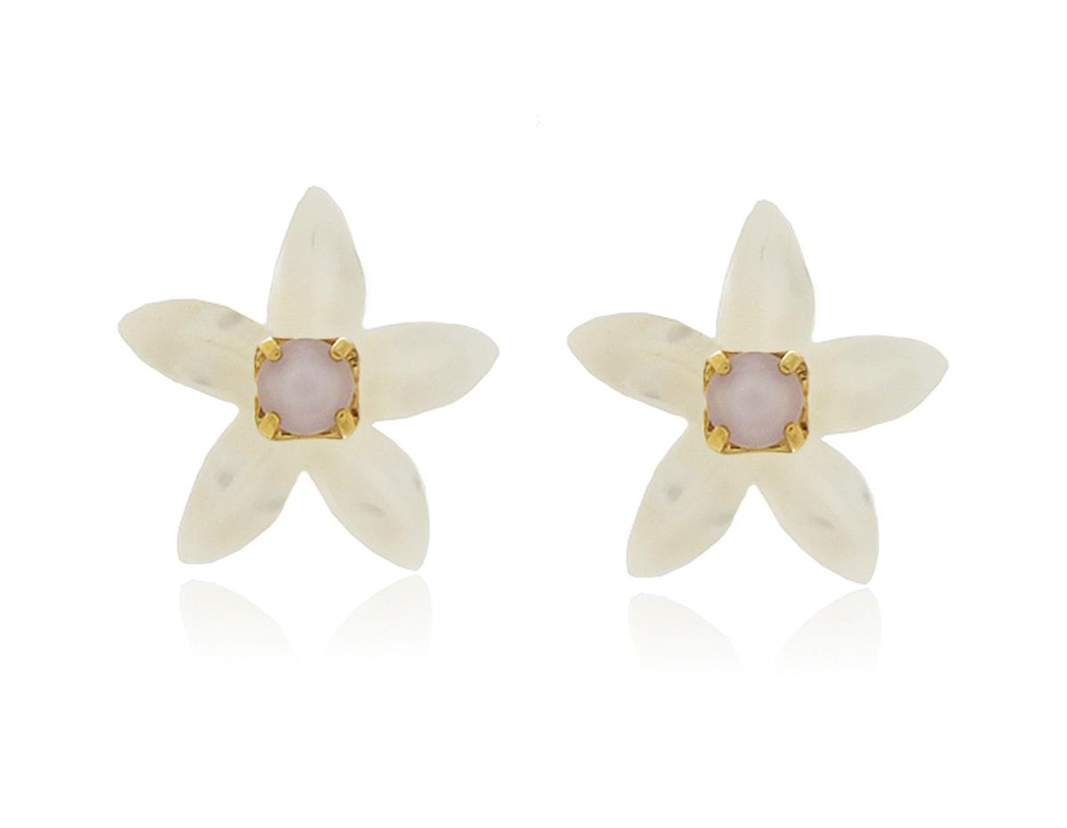 Brinco Infantil Flor Mini Dourado Duquesa Semi joia