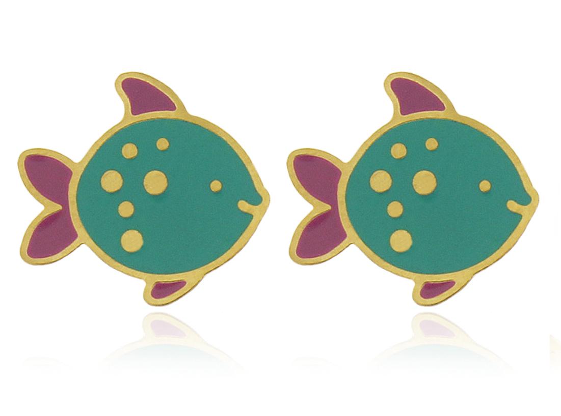 Brinco Infantil Peixe Verde Dourado Duquesa Semi joias