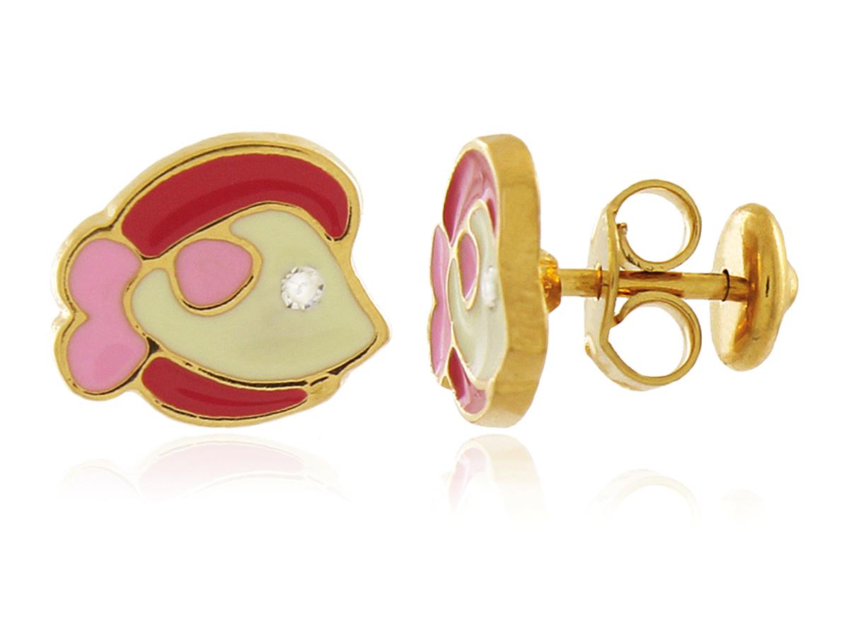Brinco Infantil Peixe Rosa Dourado Duquesa Semi joias