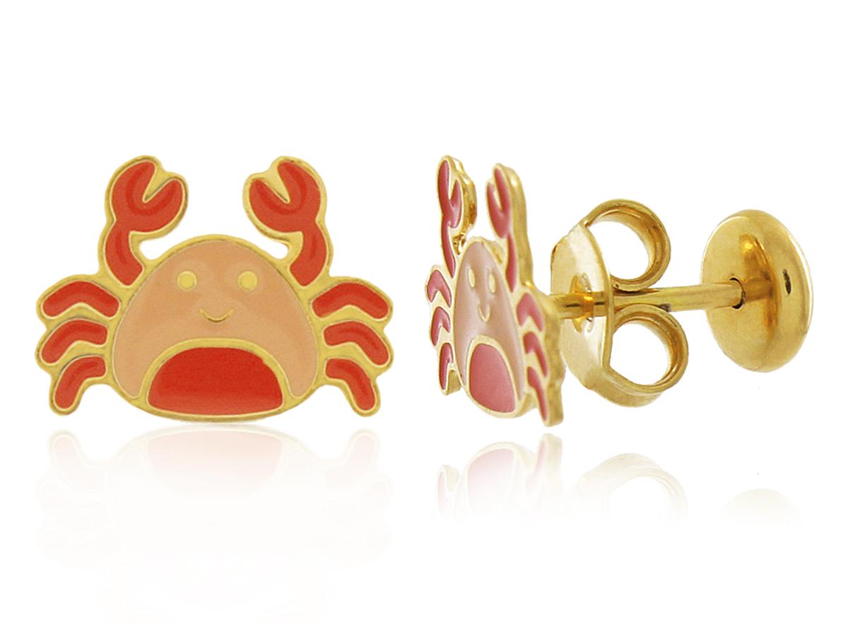 Brinco Infantil Siri Laranja Dourado Duquesa Semi joias