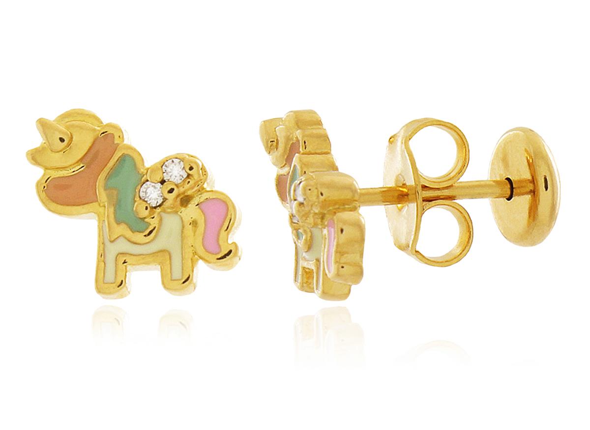 Brinco Infantil Unicórnio Zircônia Dourado Duquesa Semi joia