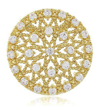 Brinco Luxo Pizza Zircônia Cristal Dourado Duquesa Semi joia