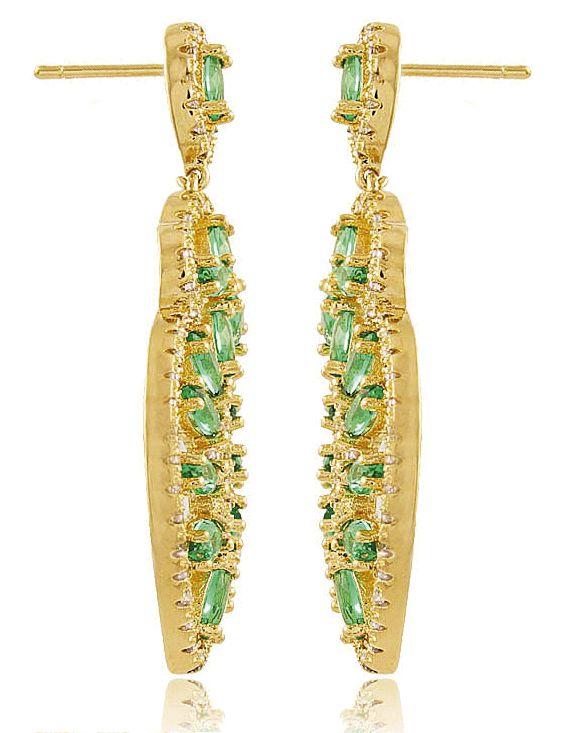 Brinco Luxo Verde Esmeralda Zircônia Duquesa Semi joia