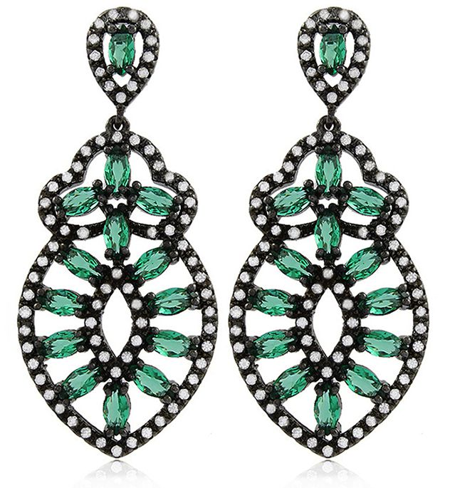 Brinco Luxo Verde Esmeralda Zircônia Negro Duquesa Semi joia