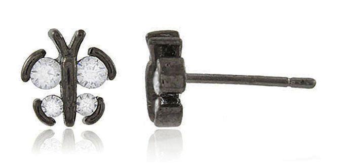 Brinco Mini Borboleta Zircônia Negro Duquesa Semi joia