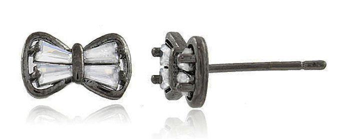 Brinco Mini Laço Zircônia Cristal Negro Duquesa Semi joia
