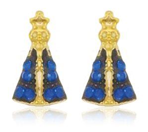 Brinco Nossa Senhora Mini Azul Dourado Duquesa Semi joias