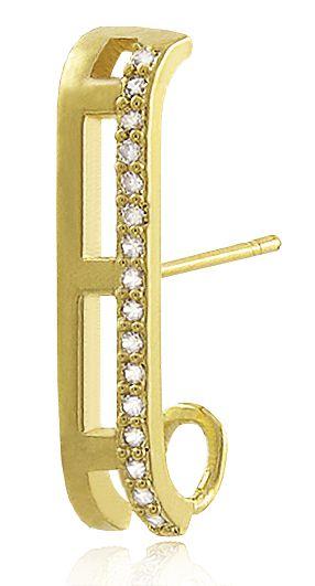 Brinco Piercing ear hook Zircônia Dourado Duquesa Semi joia