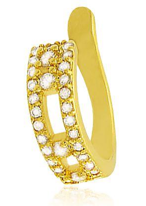 Brinco Piercing Fake Cravejado Dourado Duquesa Semi joias