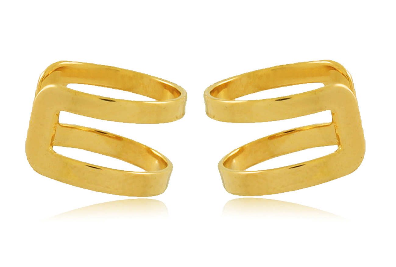 Brinco Piercing Fake Liso Dourado Duquesa Semi joias
