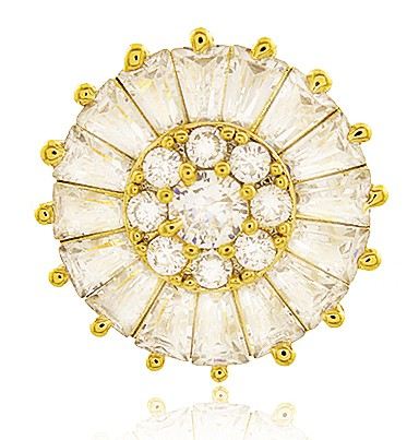 Brinco Pizza Micro Zircônia Dourado Duquesa Semi joias