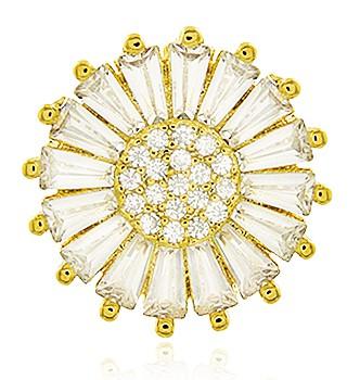 Brinco Pizza Zircônia Cristal Dourado Duquesa Semi joias